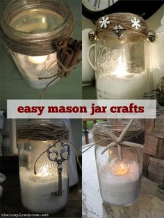 Easy Mason Jar Crafts ~ Using twine, twigs, simple finds and vintage or new trims...like jingle bells, keys and starfish. Cute and easy!!