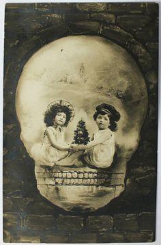 Antique Skull Optical Illusion Postcard