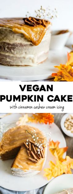 Vegan Pumpkin Cake | A 3-layer pumpkin cake iced with a cinnamon cashew glaze and topped with salted caramel sauce | thealmondeater.com | #vegan