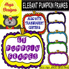 Elegant Pumpkin Frames for Personal and Commercial Use (68