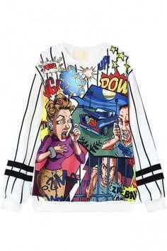 Stripes Cartoon Print Long Sleeve Sweatshirt