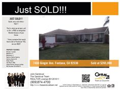 JUST SOLD this home in Fontana, CA.... Do you know someone that would like to Sell or Purchase? YES, we can HELP! (909) 874-4700 #thesandovalteam
