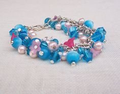 Beaded Bracelet with Blue Cat's Eye Pink Glass by evecollection