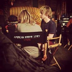 Evan Peters on the set of AHS Coven with Miss Jessica Lange. Follow rickysturn/evan-peters