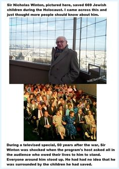 Sir Nicholas Winton and some of the 669 children he saved during the Holocaust