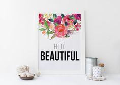 PRINTABLE Art Hello Beautiful Typography Poster by WishfulPrinting