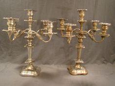 2 LG Antique Victorian Old Silver P Georgian Style Candelabra Candle Holder | eBay Silver Candelabra, Georgian, Interior Styling, Wedding Decorations, Candle Holders, Victorian, Candles, Antiques, Ebay
