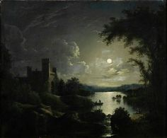 Abraham Pether - A Castle and Lake by Moonlight