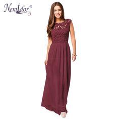 >>>Low Price GuaranteeNemidor 2016 Women Sleeveless Crochet Chiffon Sexy Casual Lace Long Dress Plus Size Summer Long Lace Maxi Dress-in Dresses from Women's Clothing