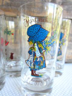 Vintage Holly Hobbie Glasses Start Your Day In A by corrnucopia