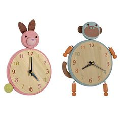 Handmade animal clocks