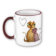 Kittens in Love Customizable Coffee Mug by SimonaMereuArt $16.90