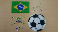 Perler bead World Cup 2014 by SES Creative: Hama Beads, Fuse Beads, Plastic Bead Crafts, Iron Beads, Melting Beads, Beading Patterns, Pixel Art, Creative Art, Cross Stitch