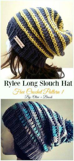 b366167c89d Rylee Long Slouch Hat Crochet Free Pattern - Women  Slouchy  Beanie Hat  Free  . Knit ...