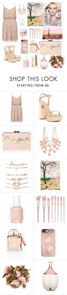 """""""party stayle🌸"""" by honiahaydar ❤ liked on Polyvore featuring Adrianna Papell, Charles David, BCBGMAXAZRIA, Design Lab, Charlotte Russe, Essie, Too Faced Cosmetics, Chloé, Rebecca Minkoff and Venini"""