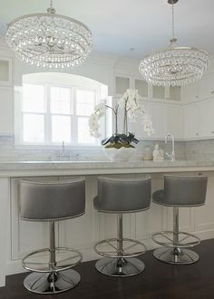 Gray Swivel Barrel Back Counter Stools, Transitional, Kitchen