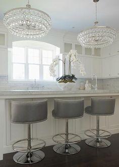 Gray Swivel Barrel Back Counter Stools, Transitional, Kitchen
