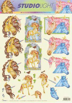 Unicorn Decoupage 3D sheet