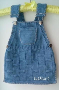 """Baby dress color """"jeans"""" pattern by tatiana Martin – Stricken sie Baby Kleidung Baby Knitting Patterns, Knitting For Kids, Lace Knitting, Crochet For Kids, Baby Patterns, Dress Patterns, Knit Crochet, Knitting Projects, Knitting Sweaters"""