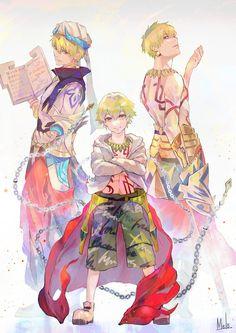 F/GO - Gilgamesh, Child Gilgamesh, and Caster Gilgamesh Gilgamesh Anime, King Gilgamesh, Gilgamesh And Enkidu, Fate Stay Night Series, Fate Stay Night Anime, Anime Guys, Manga Anime, Anime Art, Character Concept