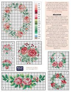 miniature needlework chart cross stitch rose floral patterns