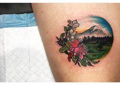 Mountain tattoo by Lauren Winzer. Girl Leg Tattoos, Circle Tattoos, Flower Tattoos, Butterfly Tattoos, Geometric Mountain Tattoo, Mountain Tattoos, Geometric Tattoos, Time Tattoos, Body Art Tattoos