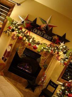 Mantel Christmas Fireplaces Decoration Ideas