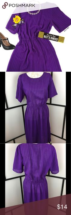 Vintage Sheer Purple Day Dress, L to XL. Sheer purple vintage dress with vertical stripes in the polyester fabric. There is an elastic waist, no flaws to note. Tag says 18, however please check measurements as vintage sizes can be different than current. Bust-20, Waist-15-19 elastic, Length-42.  This dress is a classic vintage dress ready for you to wear many ways. It would look great with a mini slip underneath to show off the sheerness for an evening out. Georgette America Dresses Midi