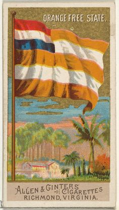 Orange Free State, from Flags of All Nations, Series 2 for Allen & Ginter Cigarettes Brands Poster Print x Ap World History, African History, Art History, Africa Symbol, Union Of South Africa, Africa Flag, Pin Up Posters, Maker Culture, Free State