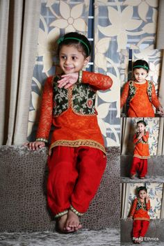 Rusty orange Lace and Green Brocade Punjabi Suit with Maroon Patiala Salwar