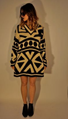 Designer Vintage Psychedelic Sweater Dress S M L by BohemianSeed