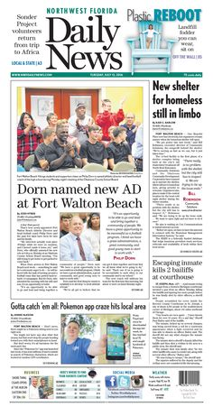 The July 12, 2016, front page of the Northwest Florida Daily News: Dorn named new AD at Fort Walton Beach