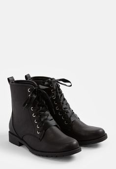 A faux leather boot with a lace up closure and back pull-tab....