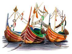 CHARLOTTE LINTON - Ermantrude's Travels, Perahu boats