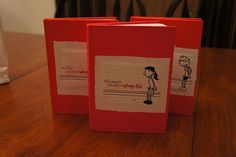 """Diary of a Wimpy Kid personalized journals - """"wimpify"""" each party guest and put them on the journal cover"""