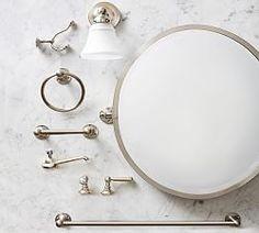 bath | Pottery Barn Timeless Bathroom, Tempered Glass Shelves, Bathroom Pictures, Bathroom Ideas, Bath Ideas, Diy Ideas, Room Planner, Towel Rings, Bathroom Hardware