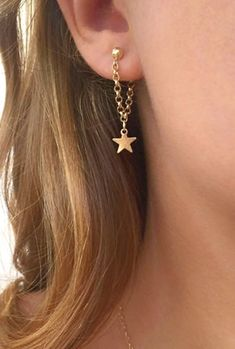 Product Information - Product Type: Pair of Earrings (2) Womens Earrings Earring Chain Star Drop Earrings