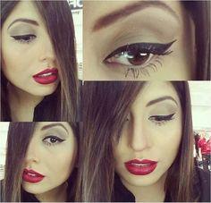 Batom vermelho e delineador na maquiagem feita pelo Beauty Team da NYX ABC