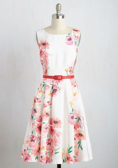 Hear that ringing? It can only mean one thing - that this white midi dress is calling on you to create a chic ensemble! Part of our ModCloth namesake label, this A-line is here to tell you that its watercolor-inspired print of hot pink poppies and verdant leaves, its red belt, and its voluminous, pocketed skirt will bring springtime cheer to any time of year.