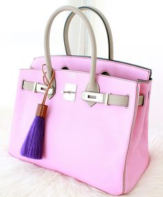 Pink and Grey bi-colour Hermes Birkin and purple horse hair bag charm.