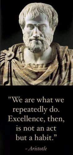 """""""Excellence is an art won by training and habituation. We do not act rightly because we have virtue or excellence, but we rather have those because we have acted rightly. We are what we repeatedly do. Excellence, then, is not an act but a habit."""" ~ Aristotle"""