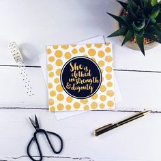 She Is Clothed In Strength & Dignity Gold Card - Proverbs Blessed Friends, Step Mum, Proverbs 31 25, She Is Clothed, Dog Cards, Black Tote Bag, Brush Lettering, White Envelopes, Card Stock