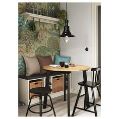 IKEA GAMLARED table A round table, with soft edges, gives a relaxed impression in a room. Small Kitchen Tables, Small Dining, Ikea Round Table, Ikea Table, Ikea Small Table, Round Dining, Kitchen Design, Kitchen Decor, Kitchen Ideas