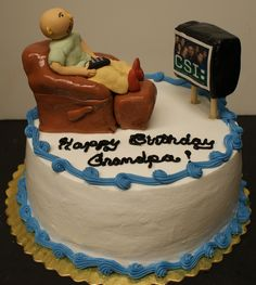 Lazy Boy birthday cake. Made with rice treats covered with fondant. CSI is an edible image.