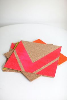 DIY Coasters | How To Instructions Here: http://www.stylemepretty.com/living/2013/04/26/neon-diy-lucite-tray | DIY Project on #SMPLiving