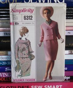 UNCUT 1965 Simplicity Designer Fashion Pattern 6312-Misses' Mod Suit-Skirt and Double-Breasted Jacket w V-Neckline & Scarf Sz 16-Bust 36 by PaperDiversities on Etsy