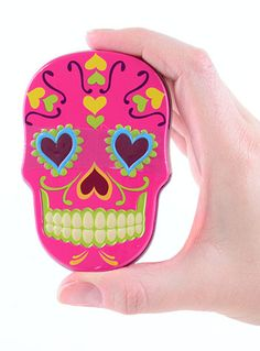 Pink Sugar Skull Tin with Candy   PLASTICLAND