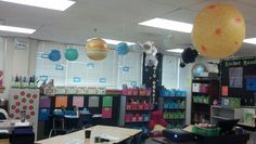 make planets out of cheap walmart balls. Space Theme Classroom, 2nd Grade Classroom, Classroom Design, Classroom Displays, Future Classroom, Classroom Themes, Classroom Organization, Classroom Management, Space Theme Decorations