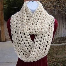 SCARF INFINITY LOOP Solid Cream, Off White Handmade Crochet Winter Circle Cowl