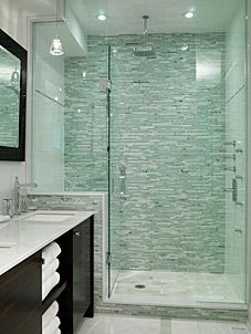 Large glass shower and that tile is pretty amazing!